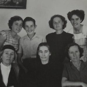 (clockwise from left) Mrika, Celestina, Gjon, Bardha, Kristina, Marta, Marta