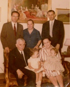 (clockwise from back row) Uncle Nikoll, my maternal grandmother, Maria Ercoli, my father Ndue, my mother Maria Teresa, me, my sister Cristina, Baba Gjon ~ Rome c.1960